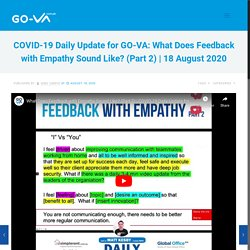 COVID-19 Daily Update for GO-VA: What Does Feedback with Empathy Sound Like? (Part 2)