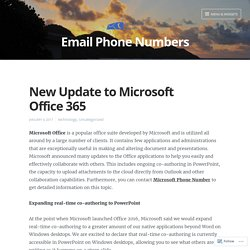 New Update to Microsoft Office 365 – Email Phone Numbers