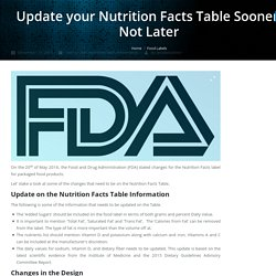 Update your Nutrition Facts Table Sooner, Not Later - Jet-Label