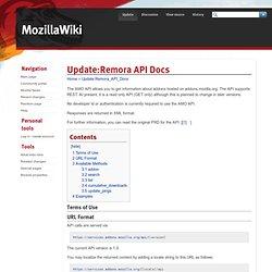 Update:Remora API Docs