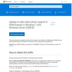 Update to add native driver support in NVM Express in Windows 7 and Windows Server 2008 R2