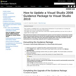 How to Update a Visual Studio 2008 Guidance Package to Visual Studio 2010