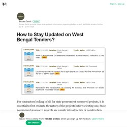 How to Stay Updated on West Bengal Tenders?