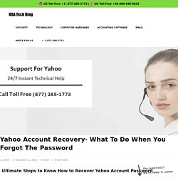 Updated Yahoo Account Recovery 1877-285-1773 Guide Forgot Password