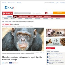 Updated: Judge's ruling grants legal right to research chimps
