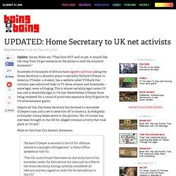 Home Secretary to UK net activists: shut up, I'm rendering Richard O'Dwyer to America