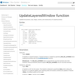UpdateLayeredWindow Function ()