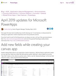 April 2019 updates for Microsoft PowerApps