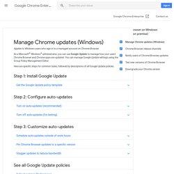 Manage Chrome updates (Windows) - Google Chrome Enterprise Help