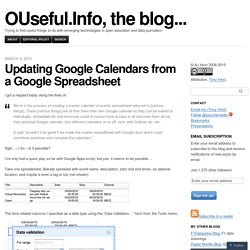 Updating Google Calendars from a Google Spreadsheet