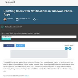 Updating Users with Notifications in Windows Phone Apps