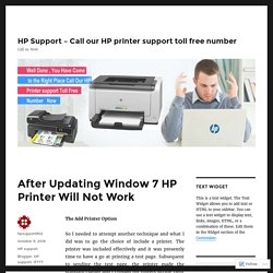 After Updating Window 7 HP Printer Will Not Work