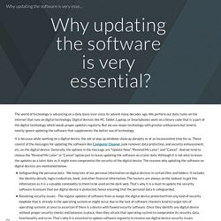 Why updating the software is very essential?