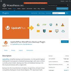 UpdraftPlus WordPress Backup Plugin — WordPress Plugins