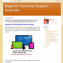Bigpond Technical Support Australia: Upgrade Your New Bigpond Webmail settings and Sync Your Android devices with Bigond webmail account