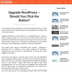 Upgrade WordPress - Should You Click the Button?