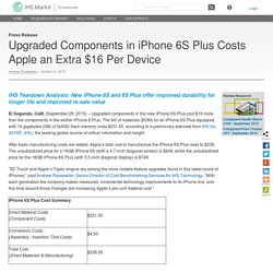 Upgraded Components in iPhone 6S Plus Costs Apple an Extra $16 Per Device