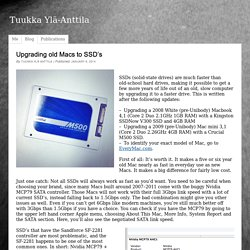 Upgrading old Macs to SSD's