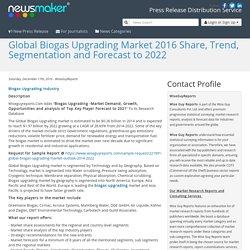 Global Biogas Upgrading Market 2016 Share, Trend, Segmentation and Forecast to 2022