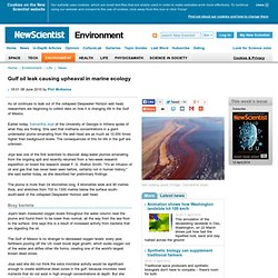 Gulf oil leak causing upheaval in marine ecology - environment -