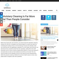 Upholstery Cleaning Is Far More Vital Than People Consider - Soft2Share
