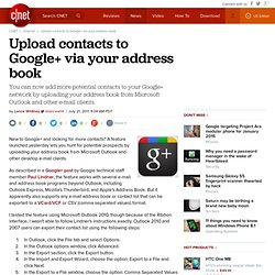 Upload contacts to Google+ via your address book