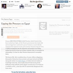 Upping the Pressure on Egypt