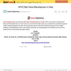 UPVC Ball Valve Manufacturer in India