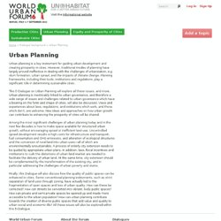 Urban Planning - World Urban Forum Dialogues