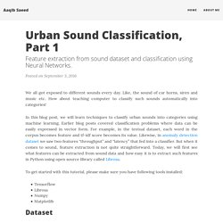 Urban Sound Classification, Part 1