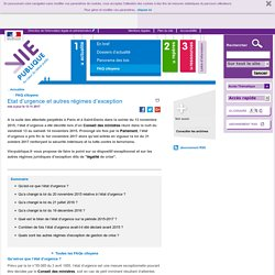 Etat d'urgence et autres régimes d'exception . FAQ - Actualités