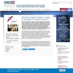 """Avis """"Etat d'urgence sanitaire : le droit à l'éducation à l'aune de la Covid-19"""""""