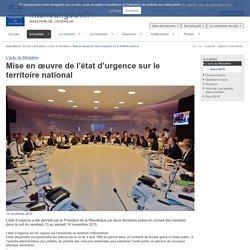 Mise en œuvre de l'état d'urgence sur le territoire national