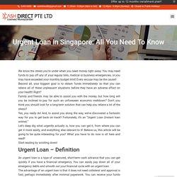 Urgent Loan In Singapore