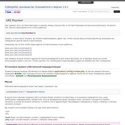 URI Роутинг : CodeIgniter, руководство пользователя