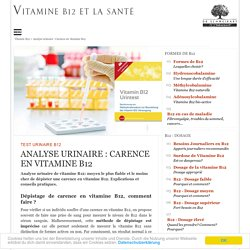 Analyse urinaire: Carence en vitamine B12