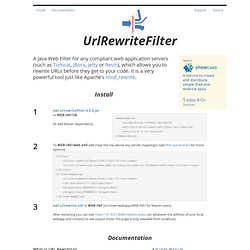 UrlRewriteFilter - Rewrite URL's in Java Web Application Servers