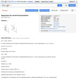 Brevet US1655114 - Apparatus for aerial transportation - Google Brevets