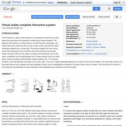 Patent US20040259688 - Virtual reality complete interactive system - Patenty Google