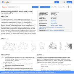 Patent US20050022461 - Constructing geodesic domes with panels - Google Patents