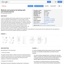 Patent US20060287094 - Methods and systems for betting with ... - Google Patents