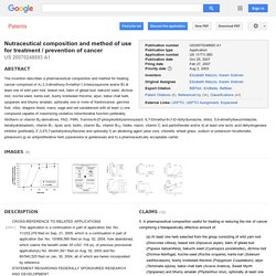 Patent US20070248693 - Nutraceutical composition and method of use for treatment / prevention of cancer - Google Patents