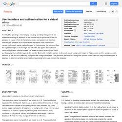 특허 US20140226000 - User interface and authentication for a virtual mirror - Google 특허 검색