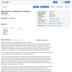 Patent US3324111 - Speciofoline, an alkaloid from mitragyna speciosa - Google Patents