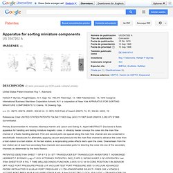 Patente US3547262 - Apparatus for sorting miniature components - Google Patentes