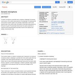Brevet US4559418 - Ceramic microphone - GoogleBrevets