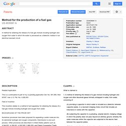 Method for the production of a fuel gas - Google Patents