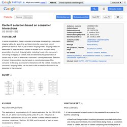 Patentti US8688615 - Content selection based on consumer interactions - Google Patents