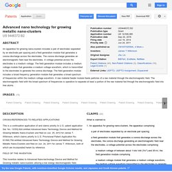 Patent US9446372 - Advanced nano technology for growing metallic nano-clusters - Google Patents