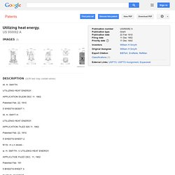 Patent US950082 - Utilizing heat energy. - Google Patents